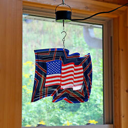 Sunnydaze American Flag 3D Wind Spinner with Electric Operated Motor - 12-Inch