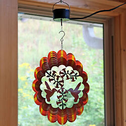 Sunnydaze Orange Hummingbird Wind Spinner with Electric Operated Motor - 12-Inch