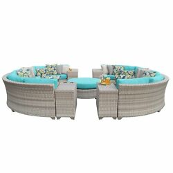 Catamaran 11-Piece Outdoor Patio Wicker Sectional Set with Beverage Ledges and