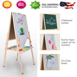 Kids Wooden 2-in-1 Double Sided Kids Standing BlackWhite Board Easel Chalkboard