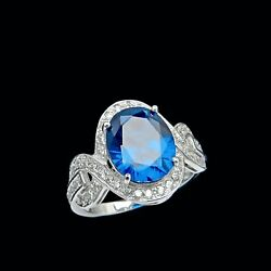 4.00TCW Oval Blue Sapphire & Round Created Diamond Halo Ring Real Solid 14K Gold