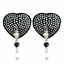 BIJOUX DE NIP Heart Black Crystal Pasties w Beads FREE SHIPPING LK!!!