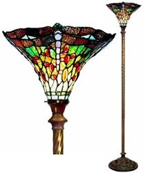 72quot; Antique Tiffany Style Green Dragonfly Torchiere Lamp Lamps Torch Floor NEW $159.95