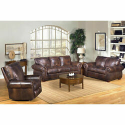 Kingston Top-Grain Leather Sofa Loveseat and Recliner Living Room Set