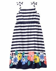Gymboree TROPICAL BREEZE Girls 10 Striped Floral Midi Dress Twins NEW NWT