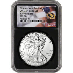 2019-(W) American Silver Eagle - NGC MS69 - Early Releases - Purple Heart Black