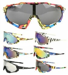 GNARLY ATHLETIC SHIELD WRAP AROUND ONE PIECE LENS SUNGLASSES SPORT OUTDOOR BEACH $10.95
