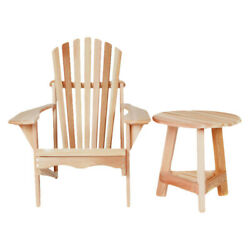 All Things Cedar Western Red Cedar Tripod Wood Adirondack Chair with Table