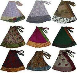 100 Pcs Mix Lot Vintage 2 Layer Silk Sari Magic Wrap Around Skirts Dress Beach