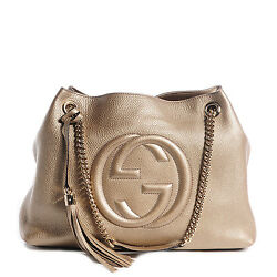 Gucci Soho Medium Shoulder Chain Bag Authentic Light Golden Beige Metallic New