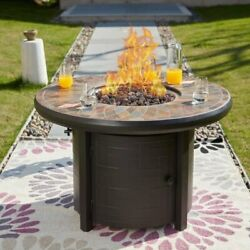 PATIO FESTIVAL ® Outdoor 50000 BTU Propane Fire Pit Table with Lava Stone