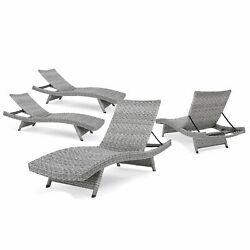 Crete Outdoor WickerAluminum Chaise Lounge (Set of 4) by Christopher Knight