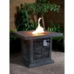 Montego 30-inch Square Gray Stacked Stone Outdoor Propane Fire Pit - NA