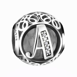 New Authentic Pandora Silver Charm Bead Vintage Letter A Clear CZ S925 Ale