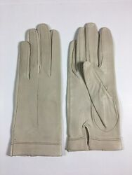 Vintage Women#x27;s Petite Small Ivory Beige Leather Gloves size 6 3 4 $10.36