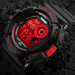 SKMEI Men#x27;s Army SHOCK Sport Quartz Wrist Date Digital Watch Waterproof Military $12.77