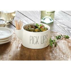 Mud Pie Home Bistro Collection Side Olive Serving Bowl w Toothpicks