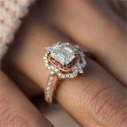 Women Rose Gold-plated Zircon Square Ring Fashion Crystal Engagement Jewelry