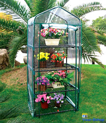 Mini Greenhouse With Shelves Portable Green House Plant Growing Clear Cover