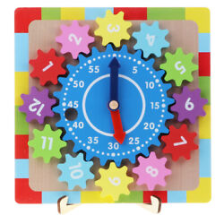 Kids Blocks Wooden Clock Puzzle Toys Number Shape Baby Educational Toys $18.68