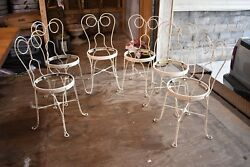 Vintage Set of 6 Mid Century Modern Metal Ice Cream Parlor Patio Chairs White
