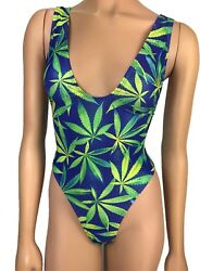 Exotic Dancewear One Piece Bodysuit Push Up Bikini Marijuana Beachwear Swimwear