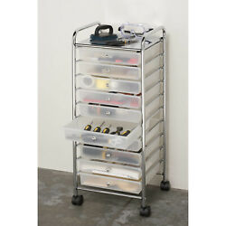 Large 10-Drawer Organizer Cart Frosted White by Seville Classics