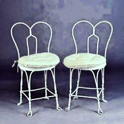Vintage Pair 2 White Painted Iron Ice Cream Chairs Patio Chairs Heart Shape Set