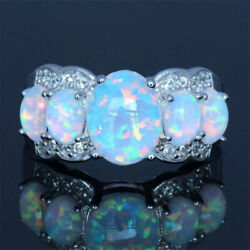 Women Handmade Ring Charm Oval Opal Silver Plated Ring Jewelry Gifts Size 5-12