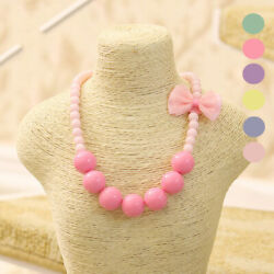 Safe Beads Jewelry Cute Candy Color Pink Bow Knot Necklace For Kids Girl