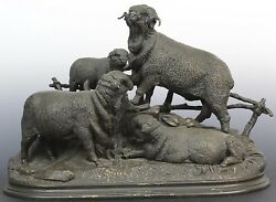 JULES MOIGNIEZ 19TH CENTURY. FIGURAL GROUPING OF RAMS or SHEEP