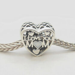 PJL Authentic Silver I LOVE YOU Mom Heart Bead Love for Mother Day Gifts Charms