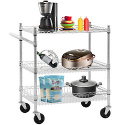 Commercial Grade Industrial Utility Cart Dolly 3 Steel Wire Storage Shelving