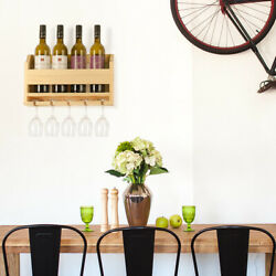 Wall Mounted Wooden Wine Rack 4 Long Stem Glass Holder & Wine Cork Storage