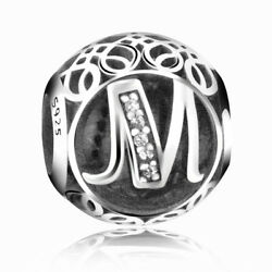 New Authentic Pandora Silver Charm Bead Vintage Letter M Clear CZ S925 Ale