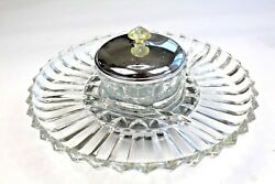 Vintage Kromex Lazy Susan Crystal Glass Chrome Rotating Relish Dish 12 12