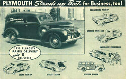 1939 Plymouth Commercial Panel Delivery Trucks Advertising Postcard
