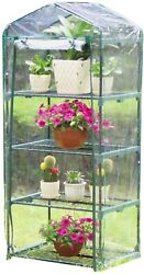Small Greenhouse Mini Green House Compact 4 Shelves Portable Clear PVC Cover