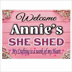 Personalize She Shed Sign Pink