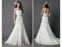 Watters WTOO Ariane 15343 Wedding Dress Gown Sz 8 Strapless Lace Sweetheart $259.00