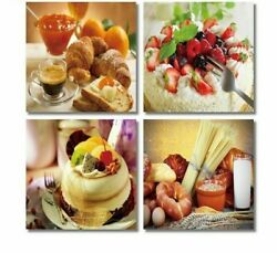 Wall Canvas Art Pictures Framed For Living Room Dessert Print Waterproof Posters $48.86