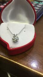2.50 CT ROUND CUT D SI2 DIAMOND PENDANT WITH 14K WHITE GOLD NECKLACE ANNIVERSARY
