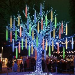 144 LED Solar Lights Meteor Shower Rain Tree Outdoor Light Halloween Decorations
