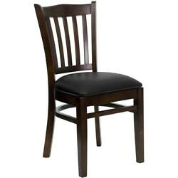 NEW WOOD WALNUT RESTAURANT CHAIRS W BLACK VINYL SEAT**** LOT OF 20 CHAIRS****