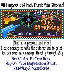 20 Laser Tag Birthday Party Thank You Stickers Gun Beams Neon Star Target Labels $4.99