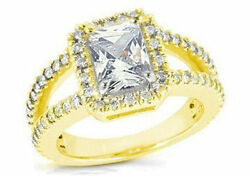 2.30 ct total 1.50 ct Radiant cut Diamond Halo Engagement 14K Yellow Gold Ring