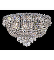 Palace Empire 9 Light 20quot; Crystal Flush Mount Crystal Chandelier Light Chrome $365.00