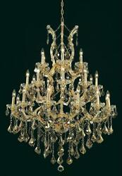 Palace Maria Theresa 28 Light golden Teak Crystal Chandelier LIght in Gold 38x52 $2,765.00