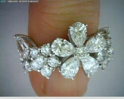 3.28 carat Pear shape & Round Diamond Ring Platinum Floral Band GIA report F VVS