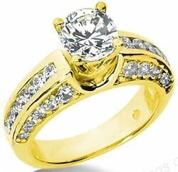 2.49 ct total Round Brilliant Diamond Engagement Wedding 14k Yellow Gold Ring